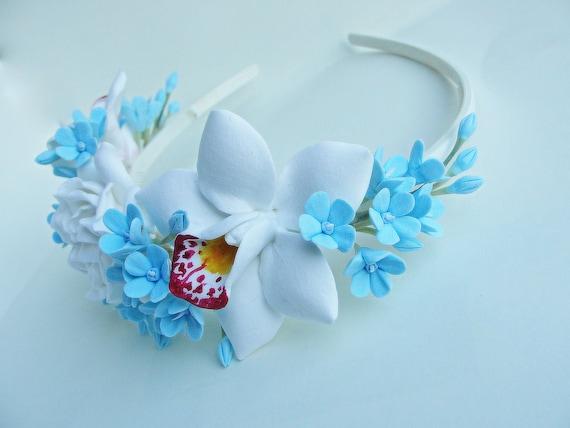Blue White Flower crown blue floral headband white woodland  8103f6da482