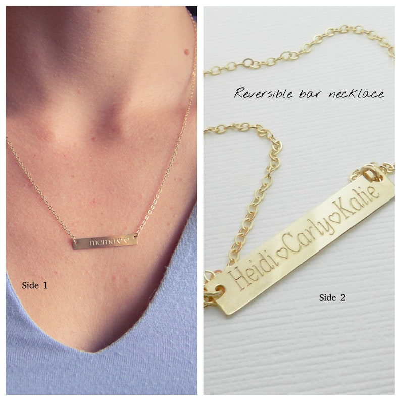 06fc4f31baaab Custom name bar necklace for Grandma/ mom, Kids name necklace gold or  silver, Personalized gift for wife, Minimalist jewelry
