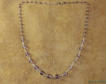 Amethyst and silver short necklace.
