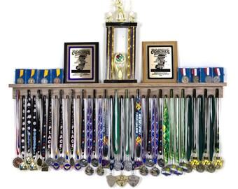 Medal Holder What/'s Life Without Goals Trophy Shelf Ribbon Holder Medal Hanger Award Display Shelf Trophy Rack Sports Award Display 30