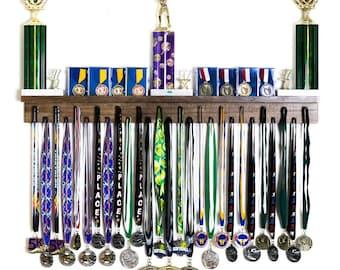 Personalized Medal hanger Trophy Shelf with hooks Display Hanger Holder Rack