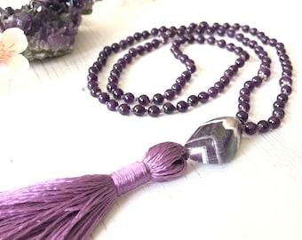 Amethyst Mala Necklace 108 Beads, February Birthstone