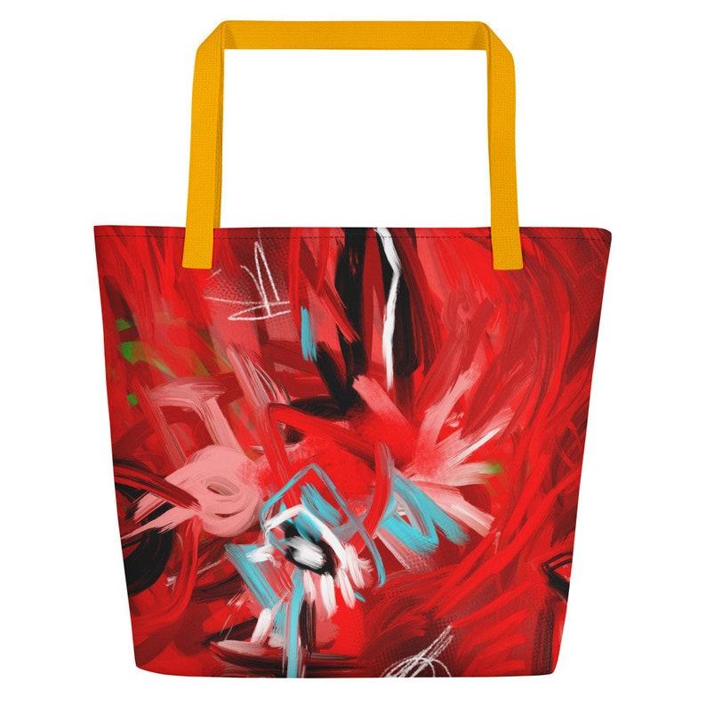 Red Ache Spatter Beach Bag