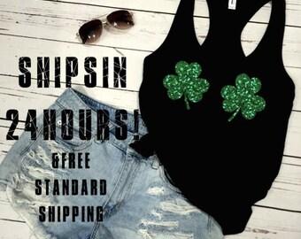 Gaelic Pride Irish Shamrock Symbol Old Font Ireland Patrick/'s Day Girls Tank Top