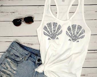 GLITTER Mermaid Sea Shell Tank Top Shirt, beach tank top for women Disney Seashell Tank Shirt Disney Ariel Little Mermaid Gift