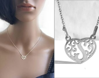 Delicate Necklace, S Letter Heart Necklace, Sterling Silver Necklace Initial, Monogram S Necklace, Feminine Necklace, Gift idea Jewelry