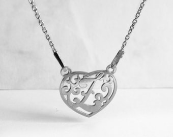 Letter Necklace, Heart Necklace Initial, Ornamental Z Necklace Heart, Monogram Necklace Z, Personalized Sterling Silver Jewelry