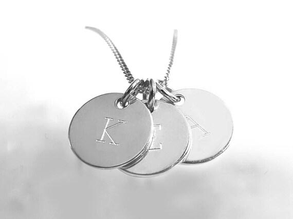 9f621583d6 Lettera a catena tre iniziali di piastre argento 925 | Etsy