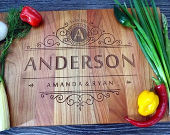 """Handmade Personalized Cutting Board. Cutting Board Lazer Engraved 10 x 15"""". Ideal gift for wedding and useful  in every house. Choping block"""