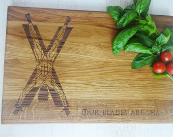 GAME of Thrones House Bolton. Handmade Oak Lazer Engraved Cutting Board. Ideal gift for wedding . Choping block Bolton cutting board