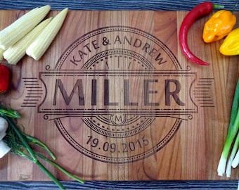 Personalized Engraved couple Cutting Board, Custom Wedding Date & Names, Anniversary Gift, Cherry Wedding Cutting Board. Bridal Shower Gift