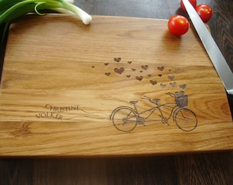"""Personalized Cutting Board. Tandem. Cutting Board Lazer Engraved 10 x 15"""". Ideal gift for wedding. Choping block"""
