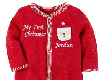 my first christmas pajamas santa footed pajamas embroidered with babys name 100 cotton thermal jammies