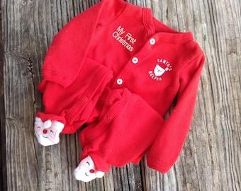 61d86c673 My First Christmas Pajamas - Santa Footed Pajamas Embroidered With Baby's  Name - 100% cotton sleep and play, jammies