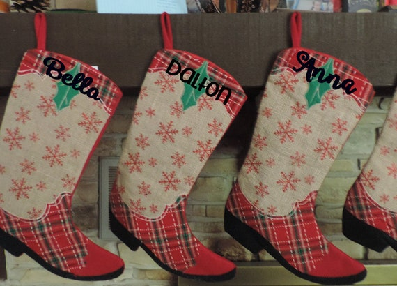 Western Christmas Stockings Personalized.Cowboy Boot Christmas Stockings Personalized With Embroidery Or Monogram Western Southern Christmas