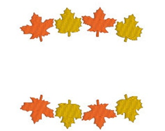 BUY2GET1FREE - Fall Leaf Frame Border Machine Embroidery Design in 5 Sizes - Instant Download - Fall Leaves - Thanksgiving Embroidery Design