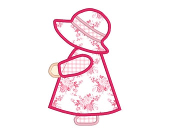 BUY 2, GET 1 FREE - Simple Sunbonnet Sue Applique Machine Embroidery Design in 3 Sizes - 4x4, 5x7, 6x10