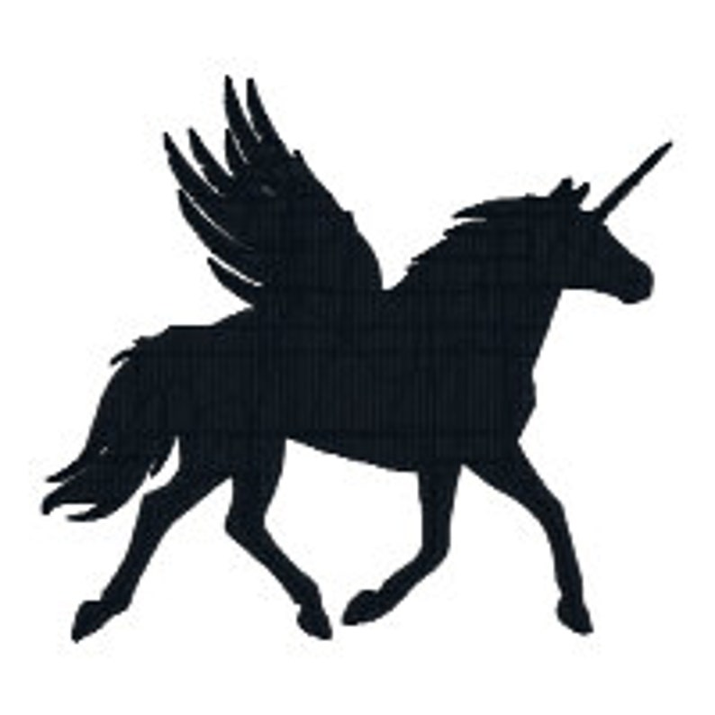 BUY 2 GET 1 FREE - Unicorn Silhouette, Pegasus Silhouette Machine  Embroidery Design in 3 Sizes, Including Mini - 4 inch, 3 inch and 2 inch