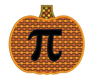 BUY2GET1FREE - Pumpkin Pi Applique Machine Embroidery Design in 3 Sizes, 4x4, 5x7, 6x10 - Instant Download