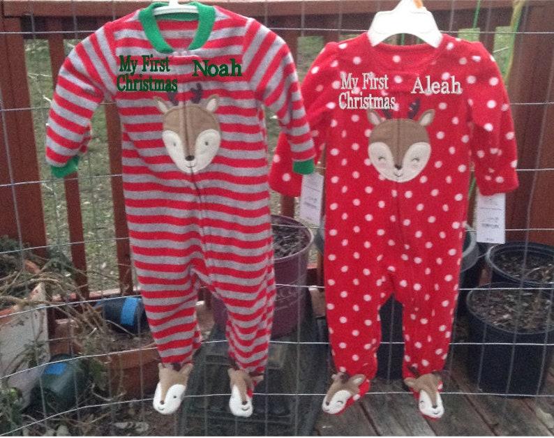 267a4688a8 My First Christmas Pajamas Santa Footed Pajamas Embroidered