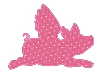 BUY2GET1FREE - Applique Flying Pig Machine Embroidery Design in 3 Sizes - 4x4, 5x7, 6x10 - When Pigs Fly Instant Download Digital File