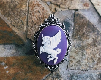 Antique Gold Victorian Metal Purple and White Cameo Unicorn Pegasus Pendant