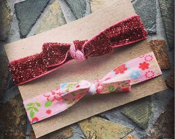 Pink Glitter and Pink Floral Hair Tie Set Of 2