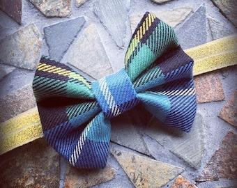 Plaid / Madris / Flannel Green Navy Blue White and Yellow Autumn Headband Set