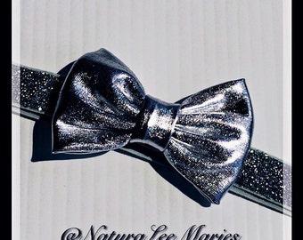 Silver Metallic Hair Bow and Holiday Glitter Headband Set