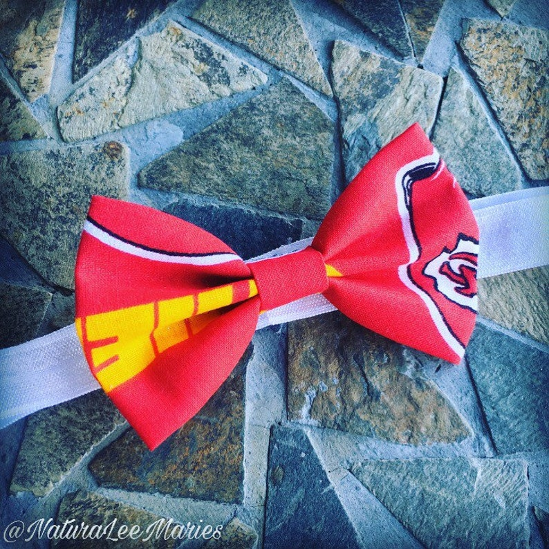 Kansas City Chiefs Red Yellow and White Bow and White Headband