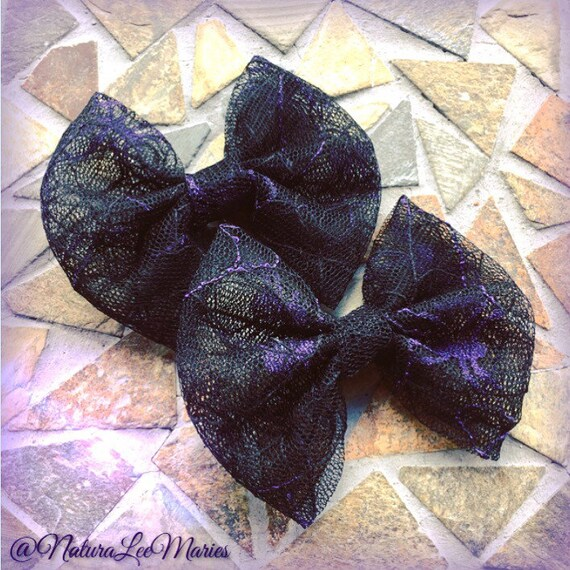 Web et araignée Halloween dentelle violet et noir noeud pour cheveux lot de 2