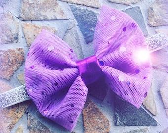 Purple Glitter Sheer Bow and Silver Glitter Headband Set