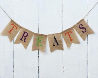 Halloween Banner, Treats Banner, Candy Halloween Banner, Halloween Sign, Halloween Decorations