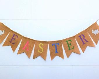 Easter Burlap Banner,Easter Banner,Easter Garland/Bunting, Happy Easter Banner