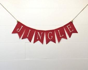 Jingle Banner,Christmas Banner,Christmas Garland/Bunting, Christmas Decor, Winter Decor