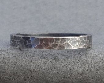 Hand Forged 3mm Sterling Wedding Band, simple leopard skin textured silver, dark organic man's ring, his and her jewelry, unisex rings
