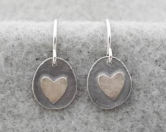 Tiny Organic Heart Earring, simple delicate sterling earring, unique handmade modern earring, sterling ear wire, silversmith, embossed heart