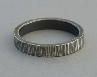 Hand Forged 3mm Sterling Wedding Band, simple hammer textured silver ring, rustic organic women's ring, his and her, size 4.25 ready to ship