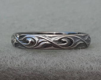 Sterling silver wedding ring, simple paisley band, his and her, mans oxidized silver hippie, ocean wave pattern, US size 6, 9 ready to ship