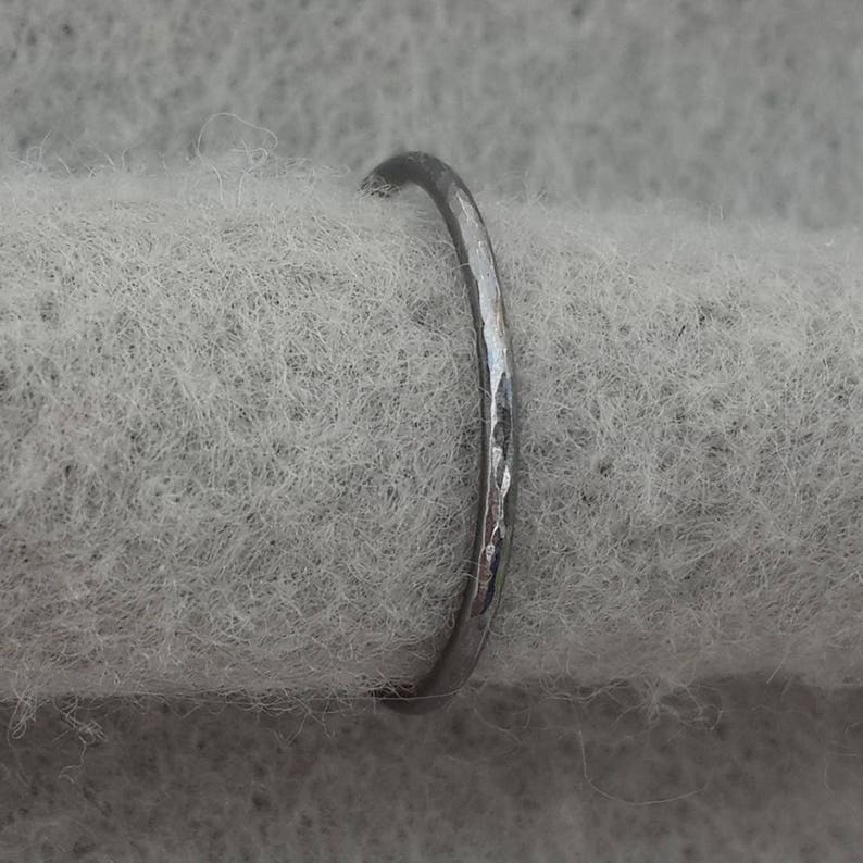 Delicate sterling silver hand forged stacking ring simple image 0