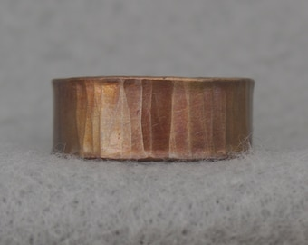 Wide Hand Forged Copper Wedding Band, simple hammer textured copper ring, rustic organic men's ring, hippie, size 6.25, 10.25 ready to ship