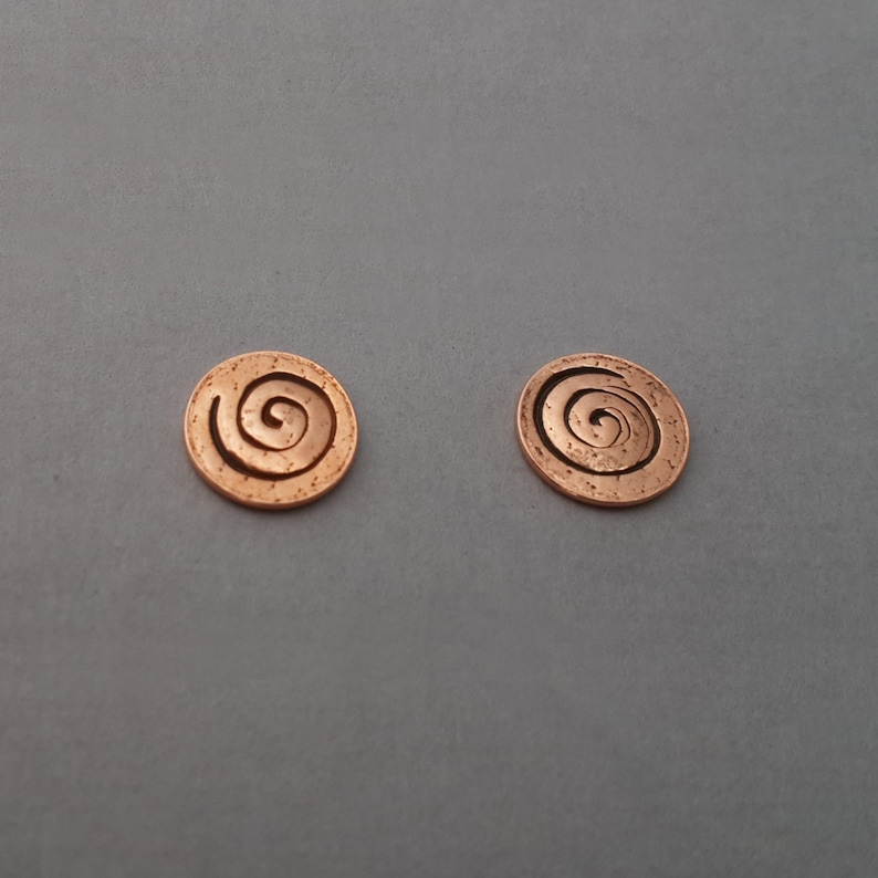 Tiny Round Spiral Earring copper earring small post earring image 0