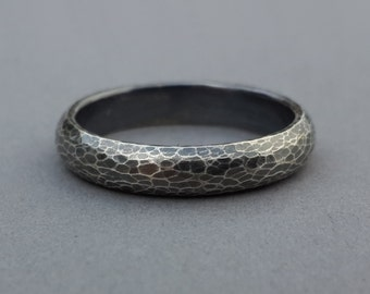 Hand Forged Wedding Ring, leopard skin, snake skin, unisex sterling band, his and her rings, 4mm band, dark oxidized, size 5.75, 7.75 ready