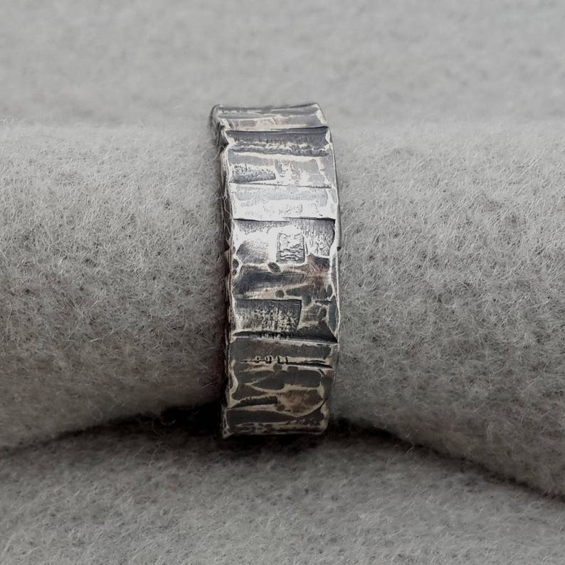 Sterling Masculine Wedding Ring unique silver distressed image 0