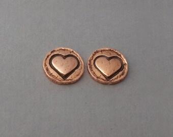 Hand forged copper earrings, circle earring, heart earring, small post earring, simple delicate, sterling post, 7mm earrings, silversmith