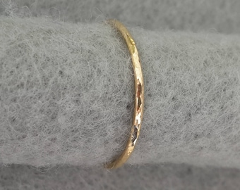 Delicate14K yellow gold filled hand forged stacking ring, simple organic hammer texture 14k gold band, 1mm wide, US size 5.25 ready to ship