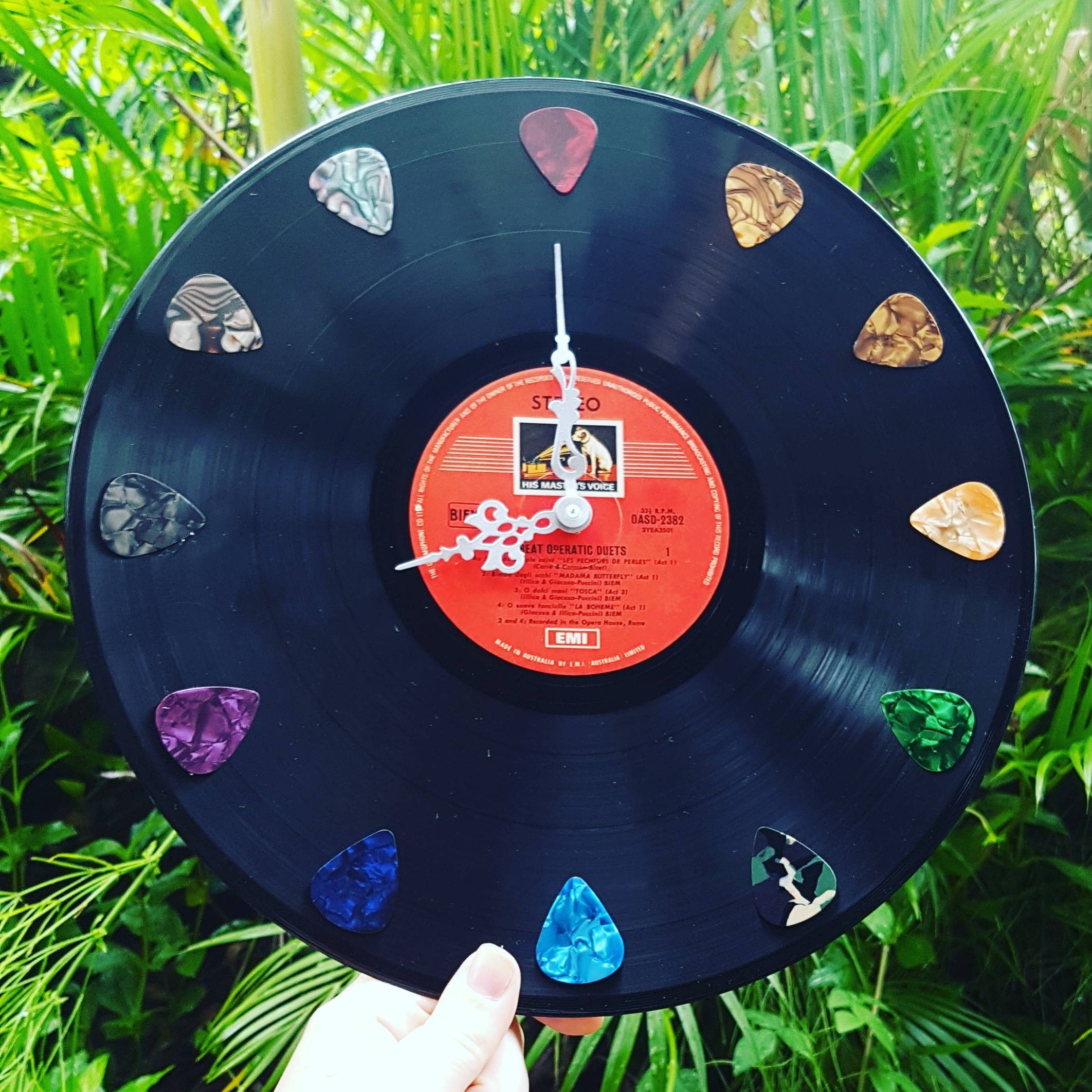 Record Clock Guitar Pick Music Teacher Theme 50's 60's 70's 80's Decoration  Wedding Retro Disco Vintage Rock n Roll Vinyl home decor gift