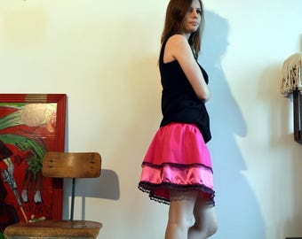 pink skirt with lace