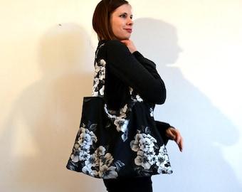 winter black and white tote bag