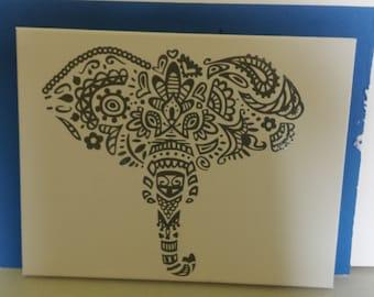 Stylized Elephant 12 x 12 Canvas Wall Hanging
